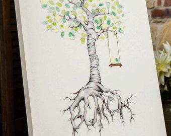 Thumbprint Tree Guest book (OIL PAINT)