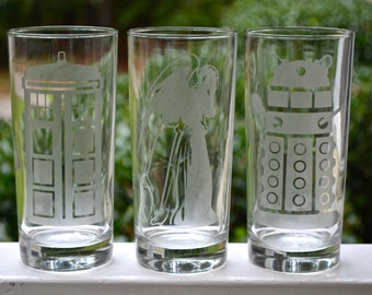 Doctor Who Etched Drinking Glasses, Tardis Etched Glass, Dalek Etched Glass, Weeping Angel Etched Glass