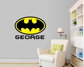 Superhero Wall Decal, Personalized Batman Wall Decal, Kids Room Decor