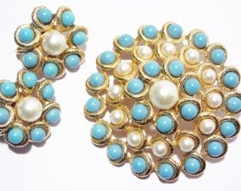 Vintage Emmons Turquoise Pearl Brooch Earrings Jewelry Set