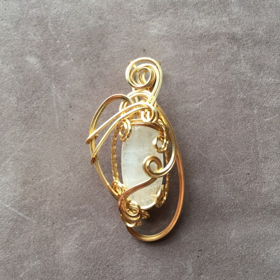 scolecite wire wrapped 14k gold filled sculpted pendant