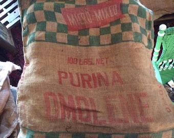 Vintage Mid 1900's Purina Dmolene Burlap Bag