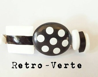 Vintage Upcycled Black & White 1950s Polka Dot Stripe French Clip Barrette Pin Up
