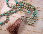 Knotted Boho Necklace, Silk Tassel with Jasper, Long Bohemian Necklace, Earthy Beaded Necklace, Hand Knotted, Aqua and Beige