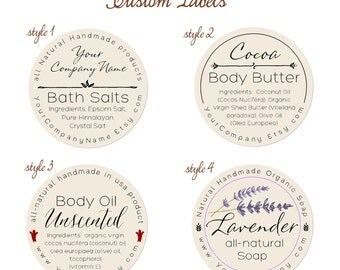 Predesigned Personalized Labels - Round labels - 60-pk Bath and body series
