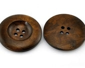 """Dark Coffee 4 Holes Round Wood Sewing Button - 1 3/8"""" Dia - Pack of 4"""