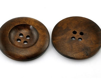 "Dark Coffee 4 Holes Round Wood Sewing Button - 1 3/8"" Dia - Pack of 4"