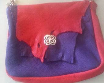 purple & Red deer hide pouch.