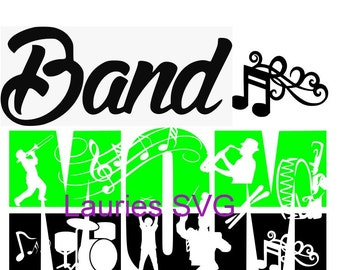 Band Mom  file- svg,png,jpg and  silhouette
