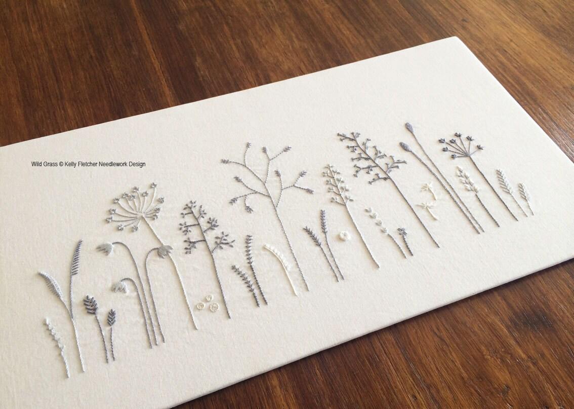 Wild grass modern hand embroidery pattern
