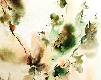 Abstract Original Watercolor Painting, Nature Inspired Painting, Green Painting, Watercolour Art