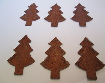 Rusty tin 3D Christmas Trees 2 in. by 3 in. 6 for 8 dollars