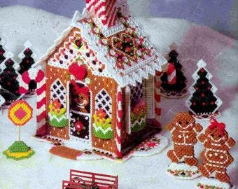 DIGITAL DOWNLOAD PDF Vintage Pattern Plastic Canvas  Christmas Gingerbread House Gingerbread Men Christmas Tree