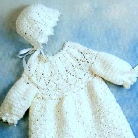 Crochet Baby Robe Pattern : Vintage Crochet Pattern PDF Baby Christening Robe Gown and