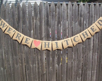 JUST HITCHED Burlap Banner Charcoal Gray CORAL Bunting Photo Prop Sign Garland Rustic Country Chic Wedding Reception