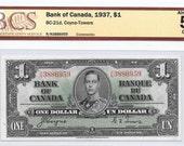 1937 One Dollar Note ~ Bank of Canada ~ King George ~ Coyne and Towers ~ Series R/N ~ Certified AU 58 Original ~ BCS AF878