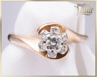 Vintage Ladies Diamond Ring ~  0.08 ct Brilliant Cut I/SI1 ~ Single Cut Diamond Halo ~ 14K Yellow and White Gold ~ STR17296 ~ GIA ~ 1000.00