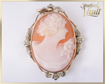 Art Nouveau ~ Oval Cameo Pendant ~ Sterling and Gold Plated ~ Hand Carved 24.5 x 19.0 mm Natural Shell Cameo ~ STR15665 ~ GIA ~ 400.00
