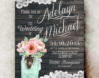 Mason Jar wedding invitation printable - blush wedding invitation, rustic wedding invitation, barn wedding invitation