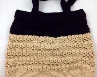 Black and Tan Colorblocked Crochet Market Bag