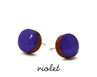 Violet Solid Colour Stud Earring · Purple Stud Earring · Violet Stud · Paint + Resin Stud · 3 sizes 8mm, 10mm & 13mm