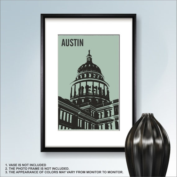 Home Decor Austin: Austin Print Poster Wall Art Texas Cityscape Austin City