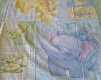 Baby Animal Cot Panel- 100% cotton, 36inches wide x 44 inches long