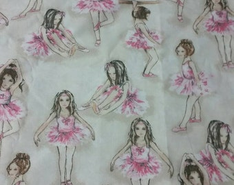 Vintage Ballerina Upholstery Kids Fabric , 58 inches wide x 36 inches long, 145cm wide x 90cm long