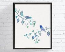 Birds On Tree Branch, Bird Wall Art, Bird Art Print, Bird Watercolor, Nature Home Decor, Bedroom Wall Decor, Bird Poster, Love Birds, Blue