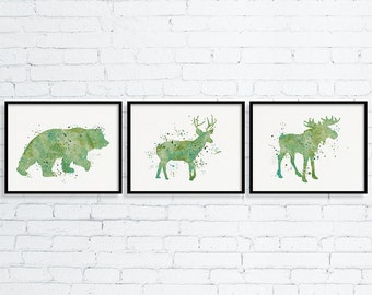 Woodland Nursery, Baby Boy Nursery, Boys Room Decor, Nursery Art, Childrens Art, Watercolor Nursery Art, Bear, Deer, Moose, Green Nursery