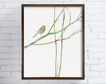 Bird on Tree Branch, Nature Wall Art, Bird Wall Decor, Watercolor Animal, Watercolor Bird, Bird Painting, Nursery Wall Art, Green