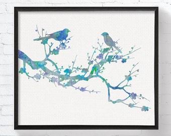 Love Birds On Branch, Bird Art, Bird Print, Bird Wall Art, Bird Wall Decor, Bird Watercolor, Wedding Gift, Anniversary Gift, Blue Birds