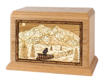 Oak Dogsled in Mountains Hampton Wood Cremation Urn