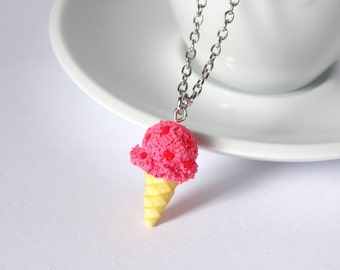 Kawaii strawberry icecream cone necklace charm pendant sweet cute handmade polymer clay