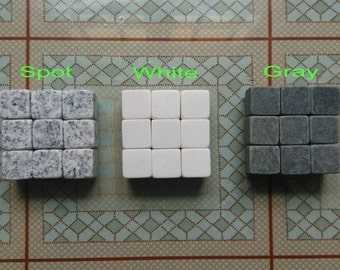 Custom Made 9 pcs / Set Soapstone Whisky Stone Ice Cubes Whiskey Stones Cooling Cold Chiller w Bag or Gift Box