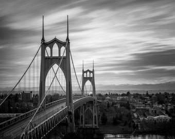 St Johns Bridge Photo, Portland Oregon Photograph, 8x10 Photograph, Cathedral Park Photo, PDX, Fine Art, Wall Decor, Portland Bridges Art