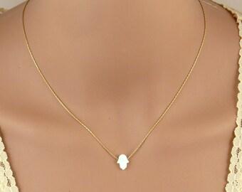 white opal hamsa necklace, gold hamsa necklace, silver hamsa necklace, hamsa pendant, dainty jewelry, Moroccan jewelry,white jewelry