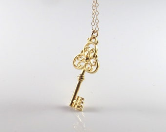 Gold key necklace , key pendant , gold filled key pendant , gold filled necklace