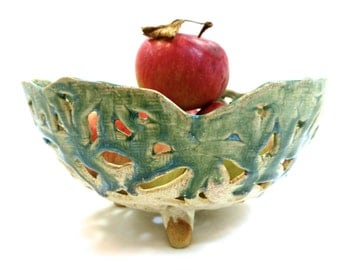 Green Blue Cream One of A Kind Handcrafted Decorative Fruit Bowl