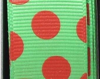 "2 Yards 7/8"" US Designer New Apple - Lime Green w/Red Funky Dot Print Grosgrain Ribbon"