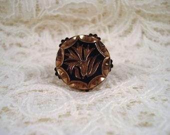 Glass Button Adjustable Flower Ring Repurposed Vintage