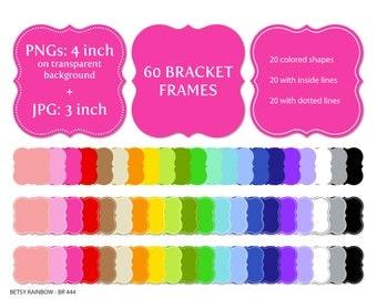 Bracket Digital frames clip art in 20 colors PNG and JPGs, Digital frame clipart  - BR 444