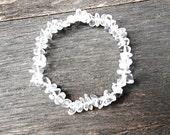Raw Rock Crystal Gemstone Bracelet Clear Quartz Meditation Chakra Zen Healing Crystal Stone Yoga Bracelet Zodiac Sign Aquarius Libra