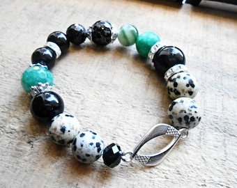 Black Onyx Healing Crystal Bracelet Agate Dalmatian Jasper Gemstone Silver Plated Charm Green Black Mala Meditation Zen Yoga Beaded Jewelry