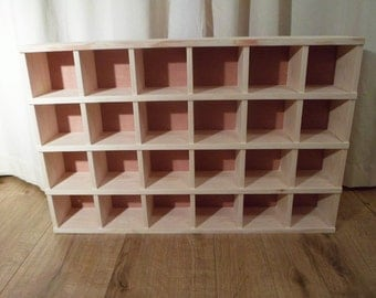 A Handmade Wooden Pigeon Hole Display Unit,  Cubby Hole Unit