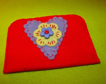 100% Wool Felt Gift Card Holder/Cash Gift Holder/Change Purse Handstitched Cotton Floss Hand Embroidered All Handcrafted Red Blue Green