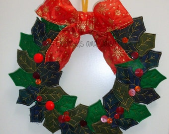 Holly Wreath Embroidery design file