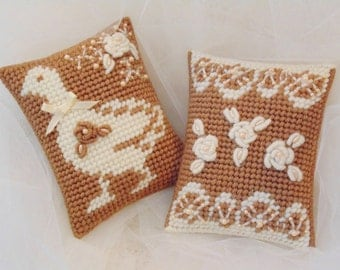 Spring Goose and Roses Needlepoint Tapestry Pillows Set of Two, Wedding Pillows, Goose Farmhouse Art, Cottage Chic Needle Art