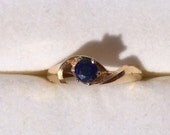 Vintage Sapphire Ring by Famor. 14K Yellow Gold Setting. Unique Engagement Ring. Estate Ring. September Birthstone. 5th Anniversary Stone.
