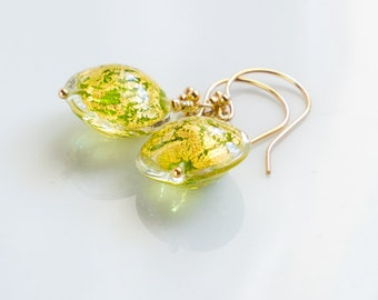 Venetian murano glass earrings genuine Venetian Murano glass and vermeil gold peridot green earrings  peridot green gold glass earrings